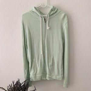 //PACSUN// Mint Green Zip Up Hoodie
